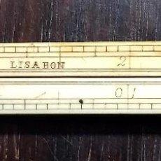 Antigüedades: ANTIGUA REGLA GRADUADA EN MARFÍL 30 CM ARTICULADA. Lote 88106408