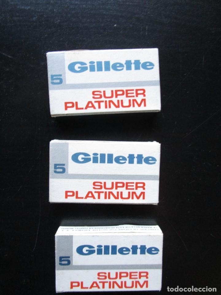 LOTE 3 CAJAS DE 5 HOJAS DE CUCHILLAS GILLETTE NUEVAS SUPER PLATINUM (Antigüedades - Técnicas - Barbería - Hojas de Afeitar Antiguas)