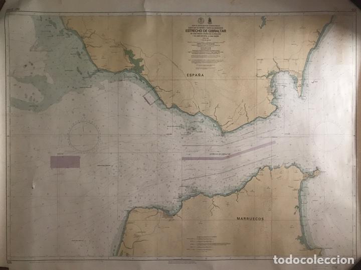 CARTA NAÚTICA ESTRECHO DE GIBRALTAR NÚMERO 105 INT 3150 (Antigüedades - Antigüedades Técnicas - Marinas y Navales)