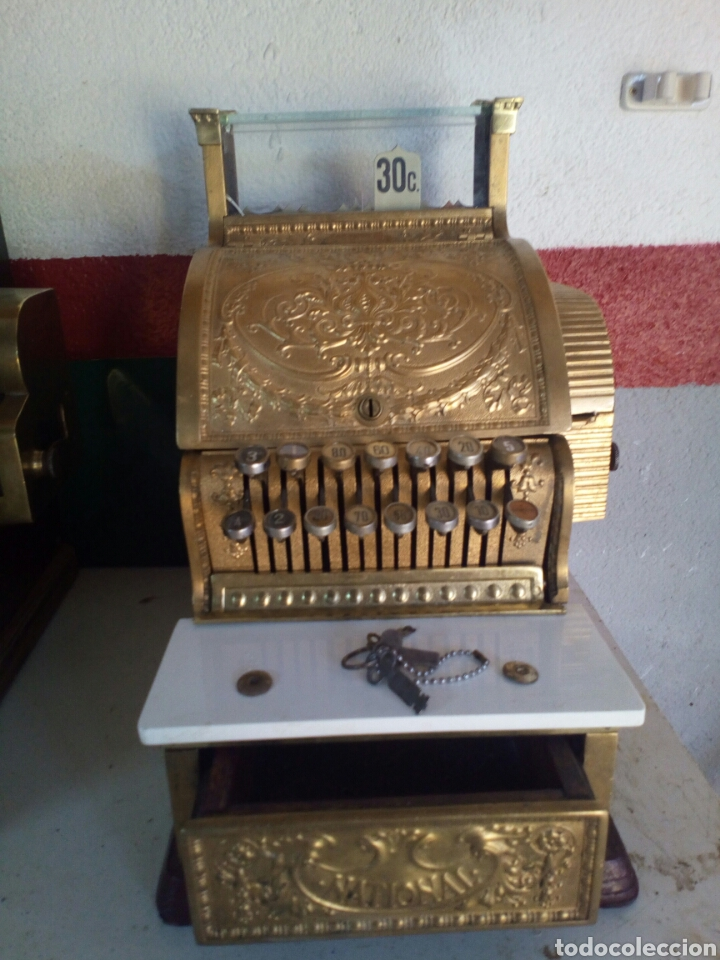 Antigüedades: Registradora National 1910 de bronce - Foto 4 - 66839226