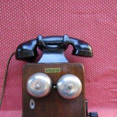 Teléfonos: ANTIGUO TELEFONO BELGA DE MADERA Y BAQUELITA, FABRICADO EN 1939, EXCELENTE CONSERVACION.. Lote 89412016