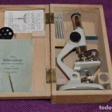 Antigüedades: MICROSCÓPIO - ENURO OPTIK - MADE IN GERMANY - MUY ANTIGUO EN CAJA DE MADERA - AÑOS 50 - HAZME OFERTA. Lote 89554004