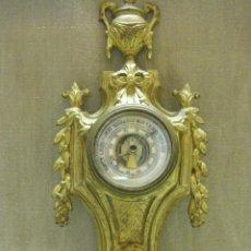 Antigüedades: ANTIGUO BARÓMETRO HIGRÓMETRO DE BRONCE FRANCÉS POSIBLEMENTE SIGLO XIX. Lote 90195600