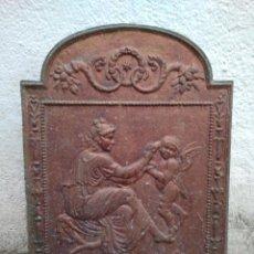 Antigüedades: ANTIGUA PLACA DE HIERRO FUNDIDO PARA CHIMENEA - TRASFUEGO. Lote 90792195