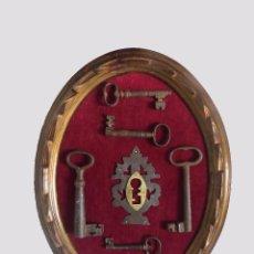 Antigüedades: HERMOSA PANOPLIA DE LLAVES Y BOCALLAVE ANTIGUAS. Lote 90812865