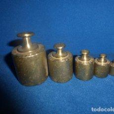 Antigüedades: ANTIGUO JUEGO DE 5 PESAS DE BRONCE. Lote 91341940
