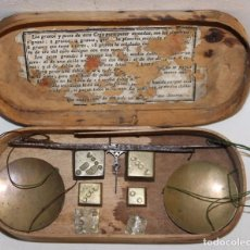 Antigüedades: BALANZA DE PRECISIÓN PARA PESAR ORO - CAJA DE MADERA - PONDERAL BARBARA - SIGLO XVIII. Lote 92198365