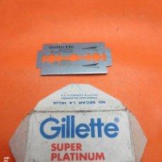 Antigüedades: CUCHILLA AFEITAR GUILLETTE SUPER PLATINUM. Lote 92293565
