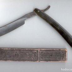 Antigüedades: ANTIGUA NAVAJA DE AFEITAR CON FUNDA - J.S. HENCKELS - SOLINGEN Nº 1 . Lote 92323380