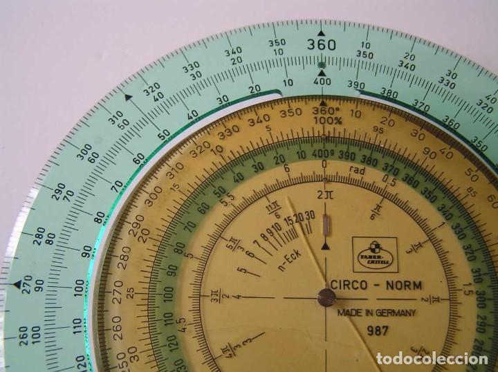Antigüedades: CIRCO NORM 987 989N CIRCULO GRADUADO FABER CASTELL - REGLA DE CALCULO SLIDE RULE RECHENSCHIEBER - Foto 4 - 92346150