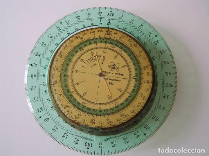 Antigüedades: CIRCO NORM 987 989N CIRCULO GRADUADO FABER CASTELL - REGLA DE CALCULO SLIDE RULE RECHENSCHIEBER - Foto 11 - 92346150