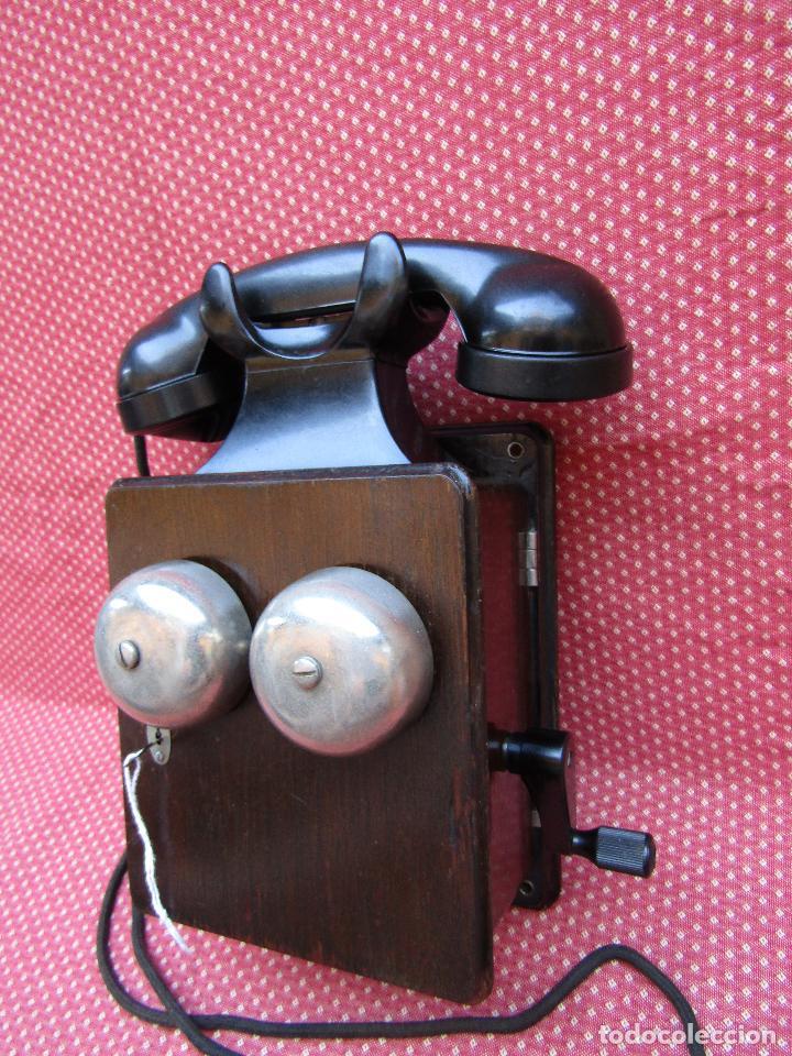 Teléfonos: ANTIGUO TELEFONO BELGA DE MADERA Y BAQUELITA, FABRICADO EN 1948, BUENA CONSERVACION. - Foto 11 - 185740775