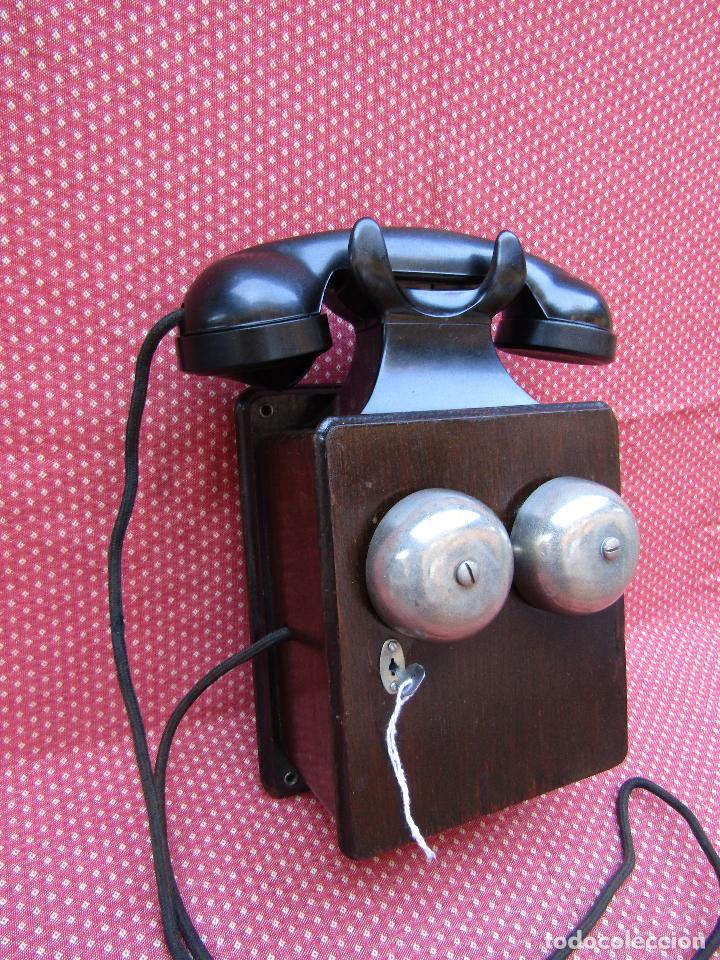 Teléfonos: ANTIGUO TELEFONO BELGA DE MADERA Y BAQUELITA, FABRICADO EN 1948, BUENA CONSERVACION. - Foto 12 - 185740775