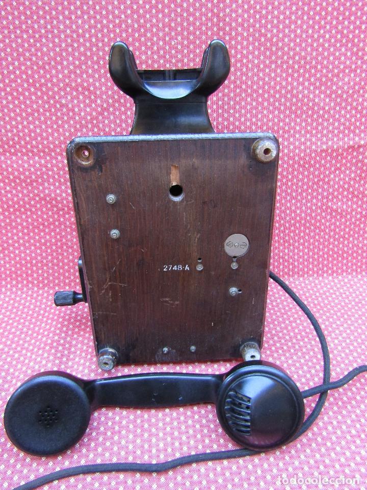 Teléfonos: ANTIGUO TELEFONO BELGA DE MADERA Y BAQUELITA, FABRICADO EN 1948, BUENA CONSERVACION. - Foto 14 - 185740775
