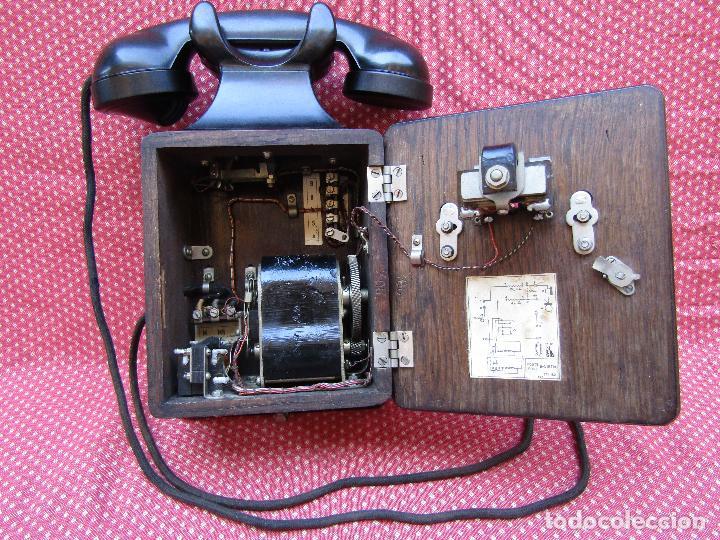 Teléfonos: ANTIGUO TELEFONO BELGA DE MADERA Y BAQUELITA, FABRICADO EN 1948, BUENA CONSERVACION. - Foto 2 - 185740775