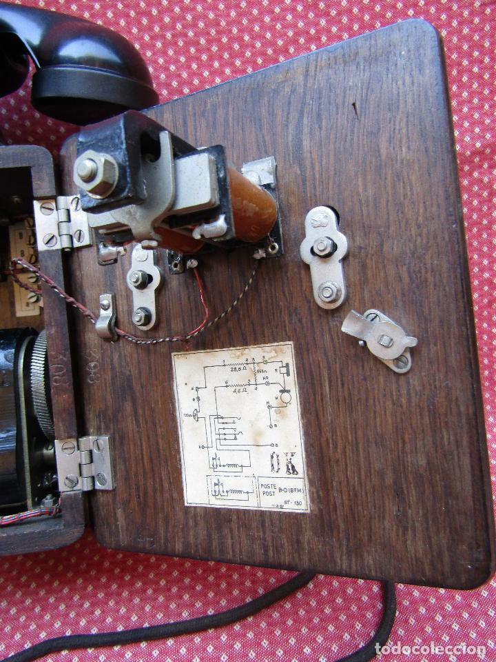 Teléfonos: ANTIGUO TELEFONO BELGA DE MADERA Y BAQUELITA, FABRICADO EN 1948, BUENA CONSERVACION. - Foto 3 - 185740775