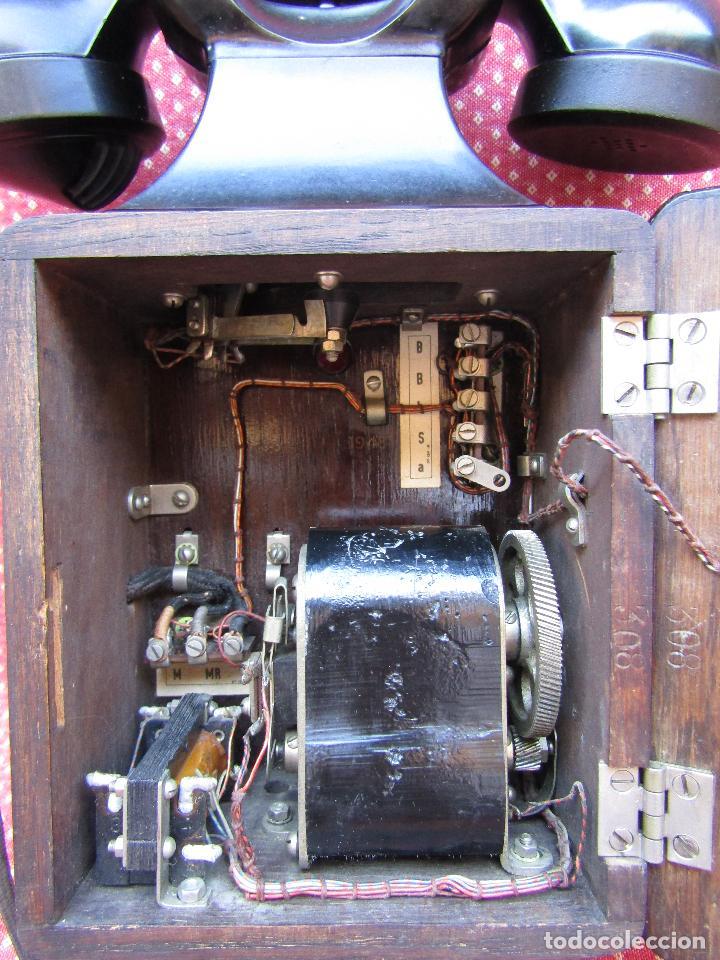 Teléfonos: ANTIGUO TELEFONO BELGA DE MADERA Y BAQUELITA, FABRICADO EN 1948, BUENA CONSERVACION. - Foto 4 - 185740775