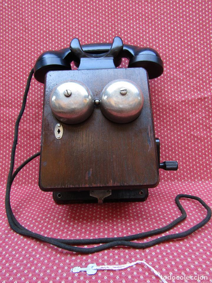 Teléfonos: ANTIGUO TELEFONO BELGA DE MADERA Y BAQUELITA, FABRICADO EN 1948, BUENA CONSERVACION. - Foto 8 - 185740775