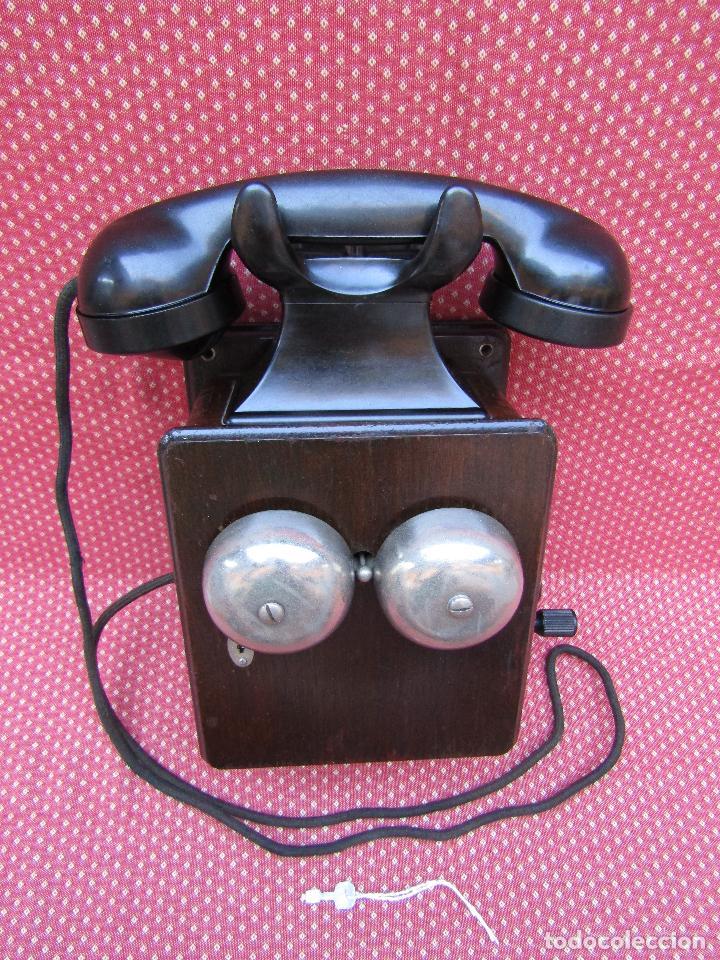 Teléfonos: ANTIGUO TELEFONO BELGA DE MADERA Y BAQUELITA, FABRICADO EN 1948, BUENA CONSERVACION. - Foto 9 - 185740775