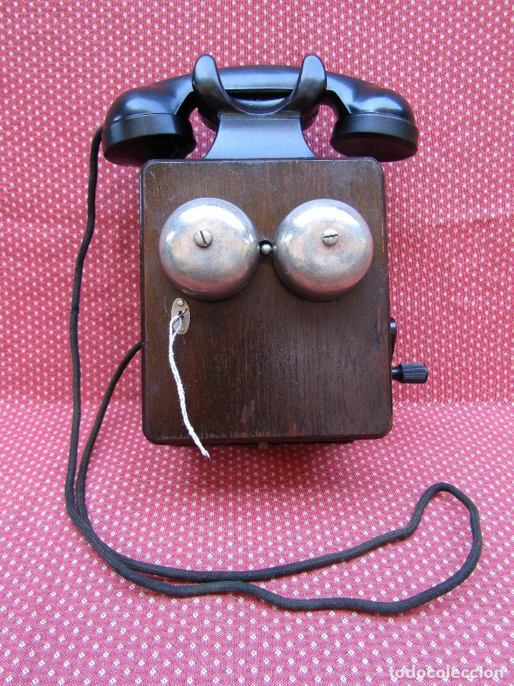 Teléfonos: ANTIGUO TELEFONO BELGA DE MADERA Y BAQUELITA, FABRICADO EN 1948, BUENA CONSERVACION. - Foto 10 - 185740775