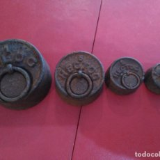 Antigüedades: ANTIGÜO JUEGO 4 PESAS PESOS PONDERALES HIERRO S. XVIII PP´XIX 1 KG , 1)2KG. 200 GM. 100 GM.. Lote 92920300