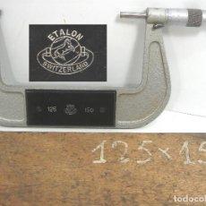 Antigüedades: ANTIGUO MICROMETRO - ETALON 125-150 - MADE IN SWITZERLAND 1972 +CAJA DE MADERA. Lote 93297370