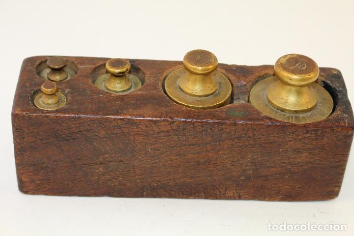 Antigüedades: juego de 5 pesas - ponderales en bronce pesas en bronce grabadas - Foto 2 - 108189146