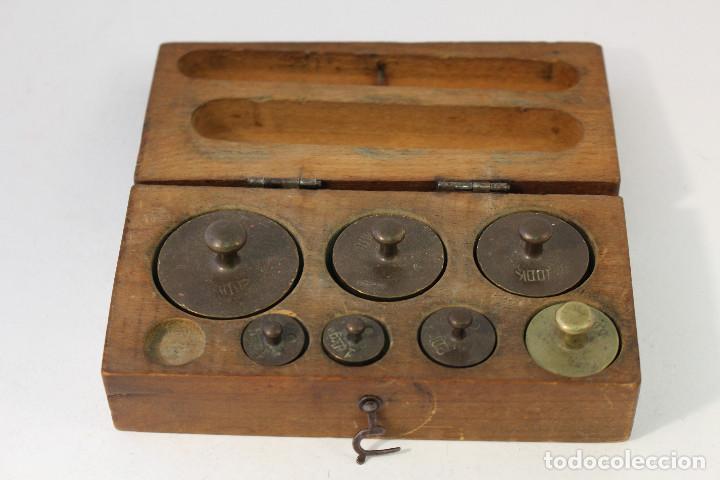 JUEGO DE 7 PESAS - PONDERALES EN BRONCE PESAS EN BRONCE GRABADAS (Antigüedades - Técnicas - Medidas de Peso - Ponderales Antiguos)