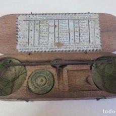 Antigüedades: CAJA DE BALANZA Y PONDERALES MONETARIOS FRANCIA. Lote 93580065