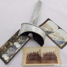 Antigüedades: VISOR ESTEREOSCÓPICO PERFECSCOPE DEL AÑO 1902 CON LOTE DE 3 FOTOGRAFÍAS ESCOGIDAS. Lote 93744500