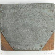 Antigüedades: ANTIGUO TACO DE IMPRENTA METAL Y MADERA PUBLICIDAD CHOCOLATE LA PRIMITIVA INDIANA. GIJON. ASTURIAS. Lote 94035705