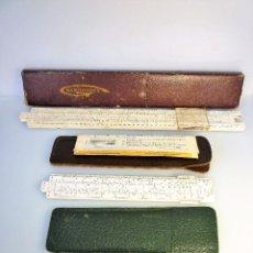 Antigüedades: LOTE 3 REGLAS DE CÁLCULO TÉCNICAS GRANDE Y MEDIANA RAFOFLEX Y PEQUEÑA POST CON FUNDAS. Lote 94107745