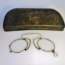 Antigüedades: GAFAS LENTES DE NARIZ MUY ANTIGUAS EN PERFECTO ESTADO FUNDA ORIGINAL ÓPTICA FRANCESA. Lote 94111625