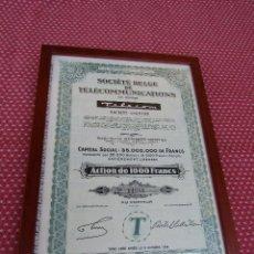 Teléfonos: ANTIGUA ACCIÓN TELEFONICA DE LA SOCIETE BELGE DE TELECOMUNICATIONS. AÑO 1944.. Lote 94301770