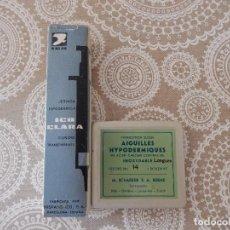 Antigüedades: JERINGUILLA HIPODERMICA DE CRISTAL ICO - CLARA DE 10 CC. + CAJA CON 10 AGUJAS. Lote 94502010