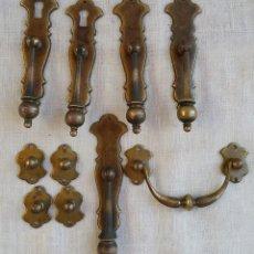 Antigüedades: (REF.01) LOTE TIRADORES DE BRONCE O LATÓN. Lote 94843931