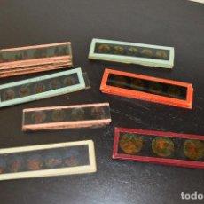 Antigüedades: LOTE DE 34 CRISTALES DE LINTERNA MÁGICA, 14, 13 Y 11 CM DE LARGO. ORIGINALES.. Lote 94944279