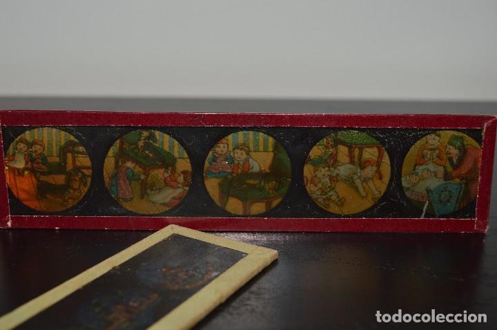 Antigüedades: Lote de 34 cristales de linterna mágica, 14, 13 y 11 cm de largo. originales. - Foto 4 - 94944279