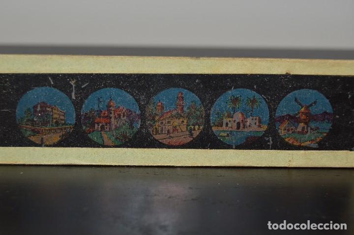 Antigüedades: Lote de 34 cristales de linterna mágica, 14, 13 y 11 cm de largo. originales. - Foto 5 - 94944279