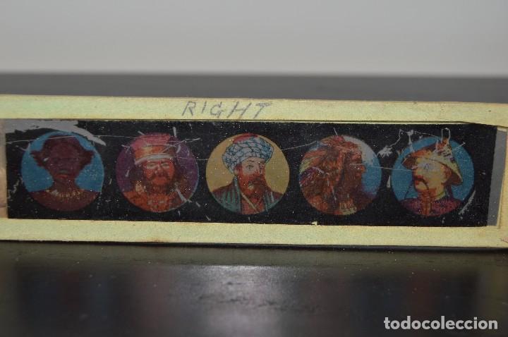 Antigüedades: Lote de 34 cristales de linterna mágica, 14, 13 y 11 cm de largo. originales. - Foto 6 - 94944279