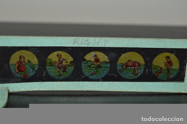 Antigüedades: Lote de 34 cristales de linterna mágica, 14, 13 y 11 cm de largo. originales. - Foto 9 - 94944279