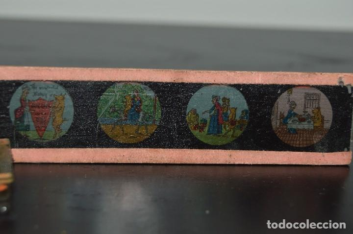 Antigüedades: Lote de 34 cristales de linterna mágica, 14, 13 y 11 cm de largo. originales. - Foto 11 - 94944279