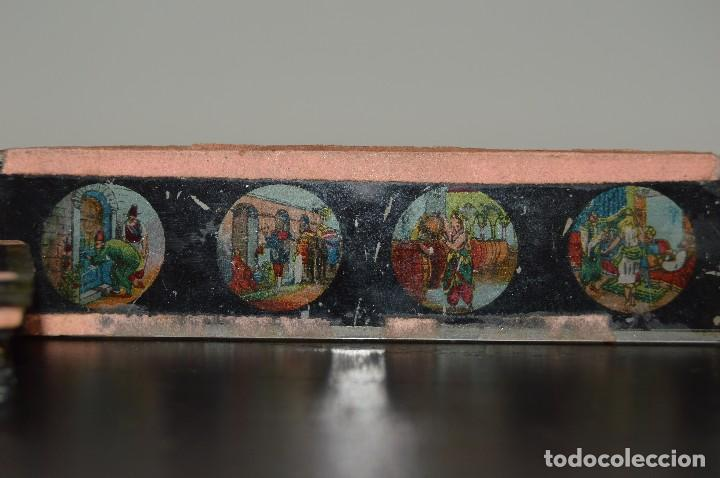 Antigüedades: Lote de 34 cristales de linterna mágica, 14, 13 y 11 cm de largo. originales. - Foto 16 - 94944279