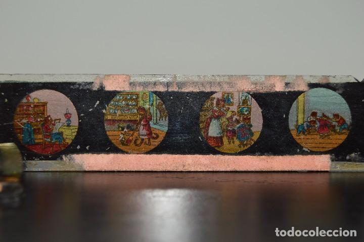 Antigüedades: Lote de 34 cristales de linterna mágica, 14, 13 y 11 cm de largo. originales. - Foto 19 - 94944279