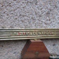 Antigüedades: ROBUSTA PESADA PISADERA DE BRONCE ' MARITIMA DE AXPE S.A ' ASTILLEROS EN LA RIA DE BILBAO 2.4KG. Lote 87606712