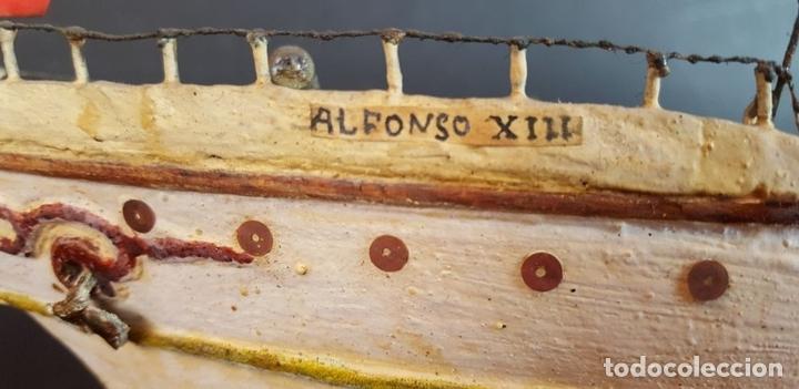 Antigüedades: MAQUETA DE BARCO A VAPOR ALFONSO XIII. MADERA Y METAL. ESPAÑA. PRINCIPIOS SIGLO XX - Foto 9 - 95190911