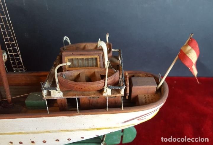 Antigüedades: MAQUETA DE BARCO A VAPOR ALFONSO XIII. MADERA Y METAL. ESPAÑA. PRINCIPIOS SIGLO XX - Foto 10 - 95190911
