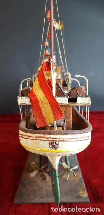 Antigüedades: MAQUETA DE BARCO A VAPOR ALFONSO XIII. MADERA Y METAL. ESPAÑA. PRINCIPIOS SIGLO XX - Foto 19 - 95190911