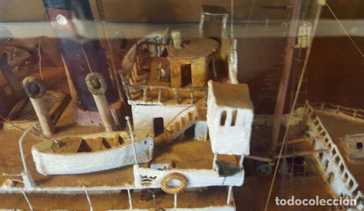 Antigüedades: MAQUETA DE BARCO VAPOR ARAGON. MADERA Y METAL. ESPAÑA. PRINCIPIOS SIGLO XX. - Foto 5 - 95208095