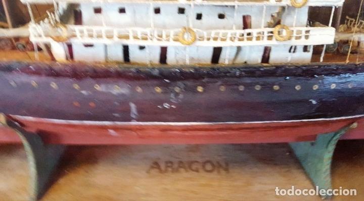 Antigüedades: MAQUETA DE BARCO VAPOR ARAGON. MADERA Y METAL. ESPAÑA. PRINCIPIOS SIGLO XX. - Foto 9 - 95208095